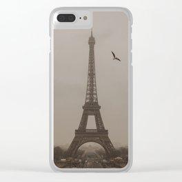 Bird by Eiffel Tower Clear iPhone Case