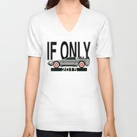 delorean V-neck T-shirts featuring Future Delorean  by IF ONLY