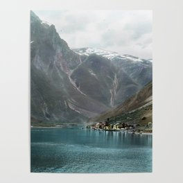 Village by the Lake & Mountains Poster