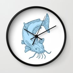 Catfish Mud Cat Diving Down Mono Line Wall Clock