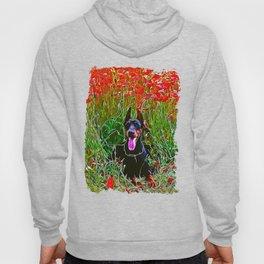 doberman dog red flowers meadow vector art Hoody