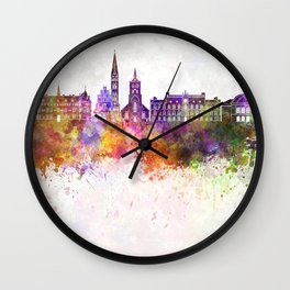 Odense skyline in watercolor background Wall Clock