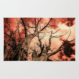 The Reaching Red Branch Tree Art in Nature Modern Forest Abstract Rug