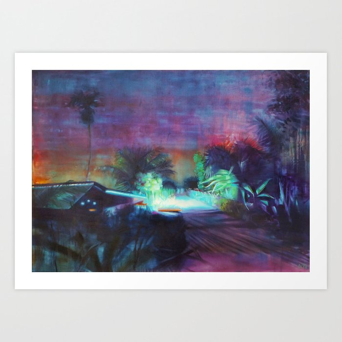 Neontubes & wilderness in Saigon river Art Print