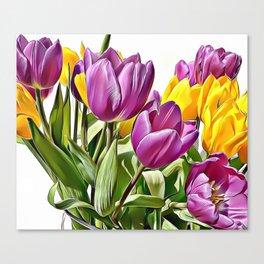 Colourful Tulips Airbrush Artwork Canvas Print