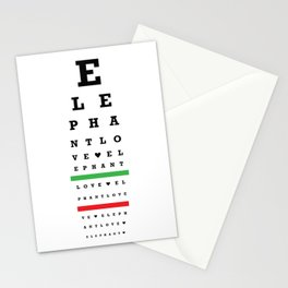 Elephant Love Eye Chart Stationery Cards
