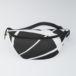 Geometric Line Abstract - Black White Fanny Pack