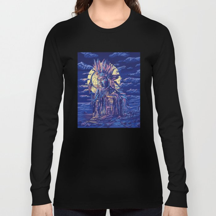native american portrait 2 Long Sleeve T-shirt