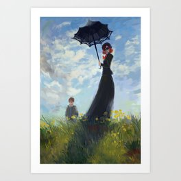 nanny with a parasol Art Print