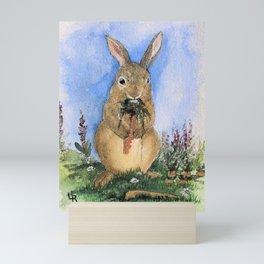 Bunny and Carrots Illustration Mini Art Print