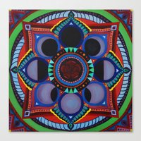 moon phase Canvas Prints featuring Rose & Moon Phase Mandala by Paula Savage