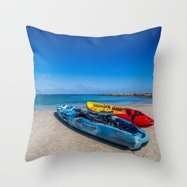 Seascape Boats Throw Pillow