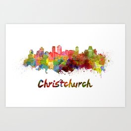 Christchurch skyline in watercolor Art Print