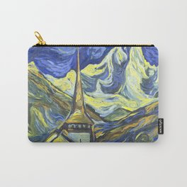 Les Praz church in Chamonix oil painting Carry-All Pouch