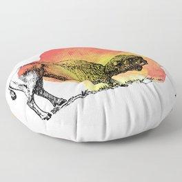 American Bison on Sunset Orange Watercolor Floor Pillow