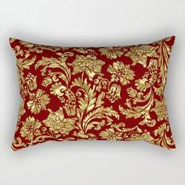 Red & Gold Floral Damasks Pattern Rectangular Pillow