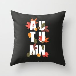 Autumn word and leaves WHITE Throw Pillow