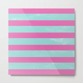 Mint & Pink Stripes Design Metal Print