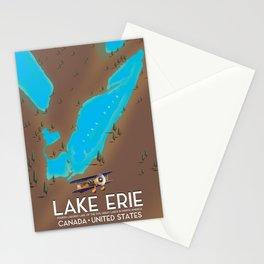 Lake Erie, USA lake Map Stationery Cards