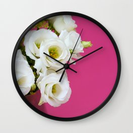 Pretty white gentian flowers Wall Clock