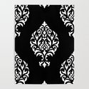 Orna Damask Pattern White on Black by nataliepaskell