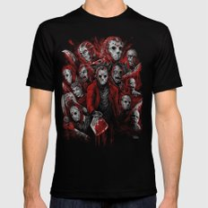 Jason Voorhees Friday the 13th Many faces of Mens Fitted Tee Black 2X-LARGE