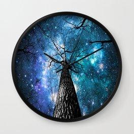 Wintry Trees Galaxy Skies Teal Blue Violet Wall Clock