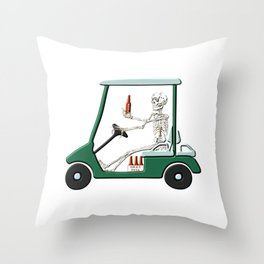 Old Timer Skeleton In Golf Cart Discovers Light Beer graphic Throw Pillow