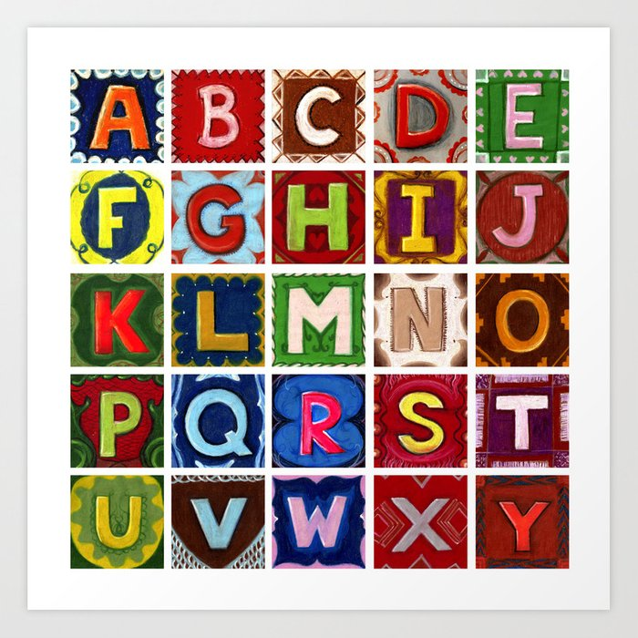 Letter Z Pictures.Alphabet Fun Letters Without The Letter Z Art Print By Dinaargov