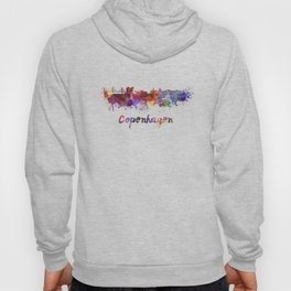 Copenhagen skyline in watercolor Hoody