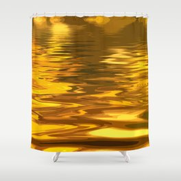 Amazing Abstract Liquid Gold Ripples Shower Curtain