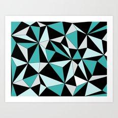 Geo - blue, gray and black. Art Print