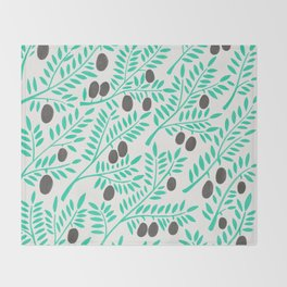 Olive Branches – Turquoise & Black Palette Throw Blanket