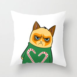 Ginger Cat in Holiday Sweater 04 Throw Pillow