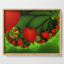 Dancing Red Hearts Fractal Art Serving Tray