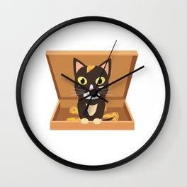 Cat in a pizza box   Wall Clock