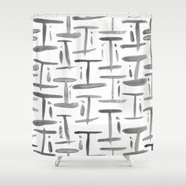 Watercolor I's - Grey Gray Shower Curtain