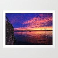 Newport Bridge Sunset Art Print