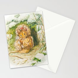 Cute little mouse in a fur coat Stationery Cards