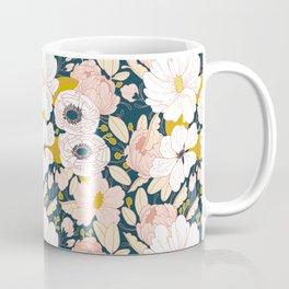 Night Floral Peony Garden Pattern Coffee Mug