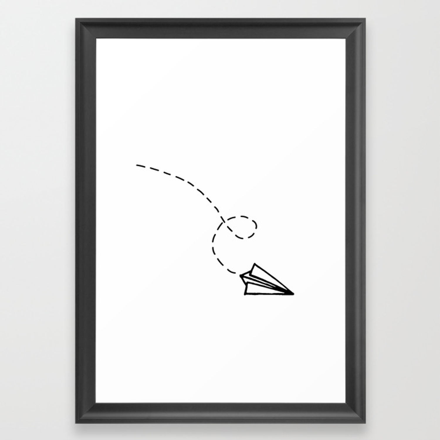 Send It Simple Paper Airplane Drawing Framed Art Print By