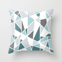 Geometric Pattern in teal and gray Throw Pillow