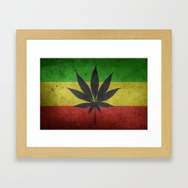Green yellow and red color Cannabis Marijuana flag Framed Art Print