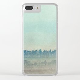 Teal Trees Clear iPhone Case