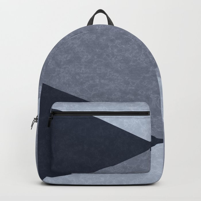 Marble gray and blue triangles Backpack