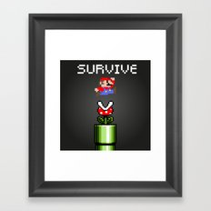 Mario survive Framed Art Print
