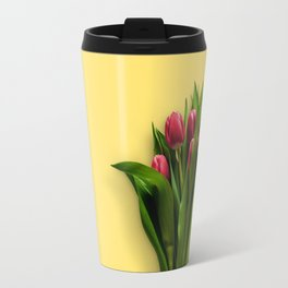 Yellow Bright Light Amber Pink Tulip Blossoms Flatlay Travel Mug