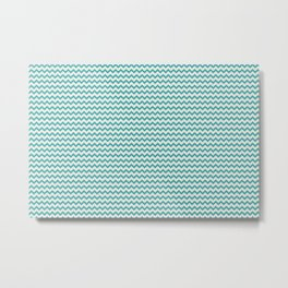Aqua Teal Turquoise and Alabaster Off White Solid Color Chevron Zigzag Horizontal Line Stripe Pattern - Aquarium SW 6767 Metal Print