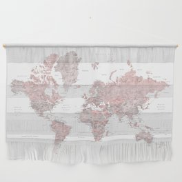 Dusty pink and grey detailed watercolor world map Wall Hanging