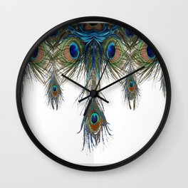 BLUE-GREEN PEACOCK FEATHERS WHITE ART #2 Wall Clock